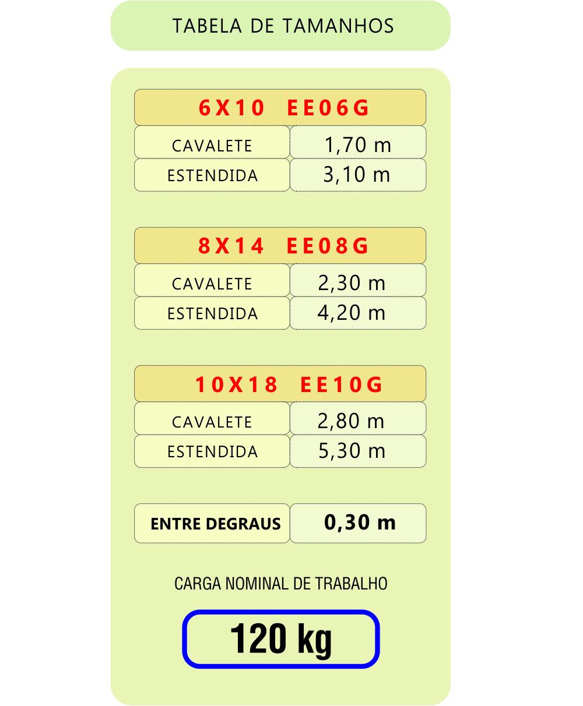 Tabela Medida Escada Extensiva Aco